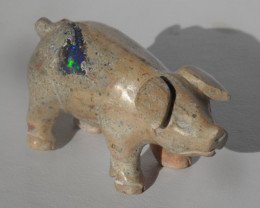 Piggy With Play Of Colour Mexican Cantera Multicoloured Opal