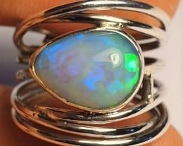 6sz Ethiopian Welo Opal & .925 Handmade Sterling Ring