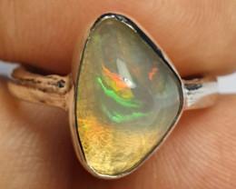 5sz Ethiopian Welo Opal & .925 Handmade Sterling Ring
