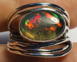 8.8sz Ethiopian Welo Opal & .925 Handmade Sterling Ring