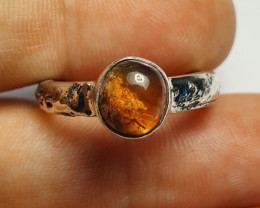 8.5 Mexican Matrix Opal & .925 Hammered Sterling Ring