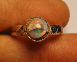 8 Mexican Matrix Opal & .925 Hammered Sterling Ring