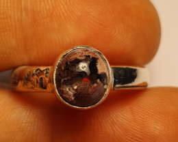 9 Mexican Matrix Opal & .925 Hammered Sterling Ring