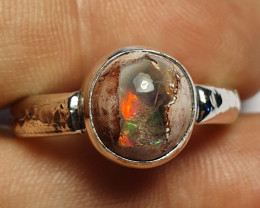 8.5sz Mexican Matrix Opal & .925 Hammered Sterling Ring