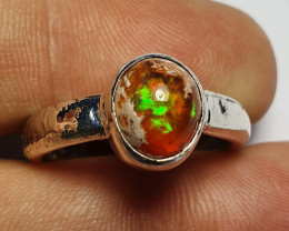 8sz Mexican Matrix Opal & .925 Hammered Sterling Ring