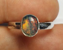 7sz Ethiopian Welo Opal & .925 Handmade Sterling Ring