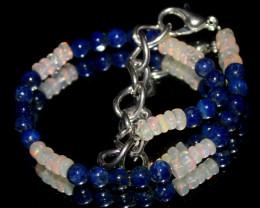 20 Crts Natural Welo Opal & Lapis Lazuli Beads Bracelet 721