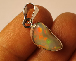 .925 Sterling Silver & Ethiopian Solid Opal Pendant