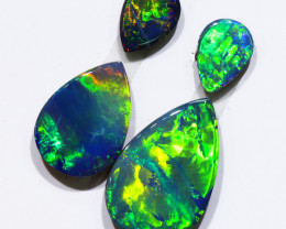 4.19CTS 4 PIECES OPAL DOUBLET PARCEL GREAT COLOUR PLAY --S1225