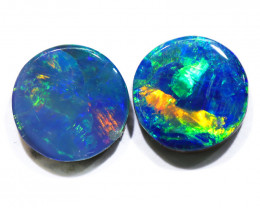 2.60CTS  OPAL DOUBLET PAIR , GREAT COLOUR PLAY --S1227