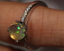 Ethiopian Welo Fire Opal Silver Ring Size US (7) 0108