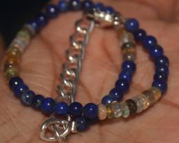 23 Crts Natural Welo Opal & Lapis Lazuli Beads Bracelet 699