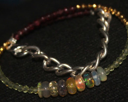 15 Crts Natural Welo Opal Garnet Peridot & Pyrite Beads Bracelet 663