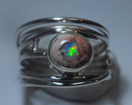 6.5sz Sterling .925 Silver Blazing Mexican Solid Opal Ring
