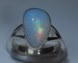 5.5sz Sterling Silver Blazing Welo Solid Opal Ring