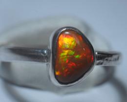 6sz Sterling .925 Silver Red Fiery  Welo Solid Opal Ring