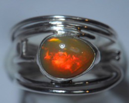 5.7sz Sterling Silver Blazing Welo Solid Opal Ring