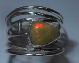 7sz Sterling Silver Blazing Welo Solid Opal Ring