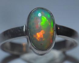 6.2sz Sterling Silver Blazing Welo Solid Opal Ring