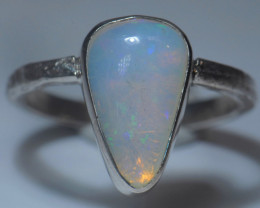 7.7sz Sterling Silver Blazing Welo Solid Opal Ring