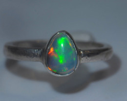 6.7sz Sterling Silver Blazing Welo Solid Opal Ring