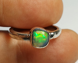 6.2sz Sterling Silver Blazing Welo Solid Opal Ring