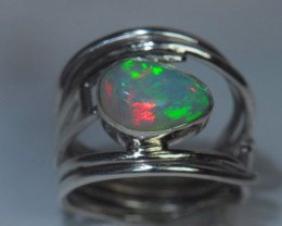 5sz Sterling Silver Blazing Welo Solid Opal Ring