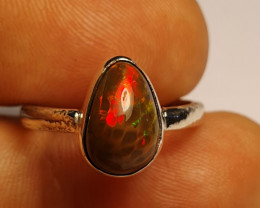 6.5sz Sterling Silver Blazing Welo Solid Opal Ring