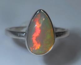 8.2sz Sterling .925 Silver Blazing Welo Solid Opal Ring