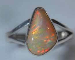 5.2sz Sterling .925 Silver Blazing Welo Solid Opal Ring