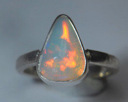 4.5sz Sterling .925 Silver Blazing Welo Solid Opal Ring