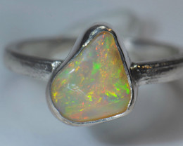 6.2sz Sterling .925 Silver Blazing Welo Solid Opal Ring