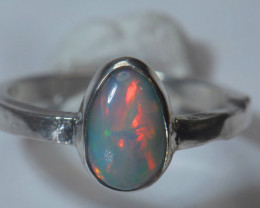7.5sz Sterling .925 Silver Blazing Welo Solid Opal Ring