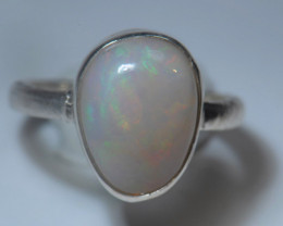 5.7sz Sterling .925 Silver Blazing Welo Solid Opal Ring