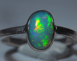 7.2sz Sterling .925 Silver Blazing Welo Solid Opal Ring
