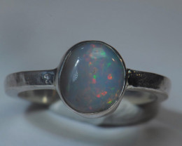 8sz Sterling .925 Silver Blazing Welo Solid Opal Ring