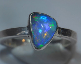 6.25 Size US-  Sterling .925 Silver Blue Welo Solid Opal Ring