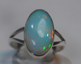 5.75 size US Sterling .925 Silver Blazing Welo Solid Opal Ring
