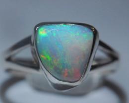 5.2sz Sterling .925 Silver Blazing Welo Solid Opal Ring
