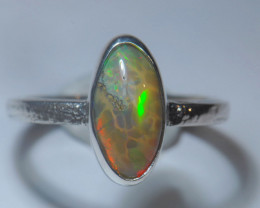 8.5sz Sterling .925 Silver Blazing Welo Solid Opal Ring