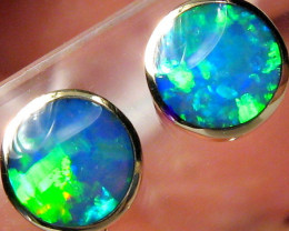Australian Opal Stud Earrings Inlay Jewelry Gem Gift Idea 14kt Gold 7.8ct B