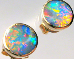 Australian Stud Opal Earrings Inlay Jewelry Gem Gift Idea 14kt Gold 5.3ct B