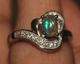 Ethiopian Welo Fire Opal Silver Ring Size US (5) 0112