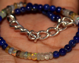 23 Crts Natural Welo Opal & Lapis Lazuli Beads Bracelet 712