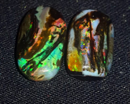 10.00 CRT 2 PCS RIBBON PLAY COLOR PATTERN INDONESIAN OPAL WOOD FOSSIL