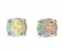 Coober Pedy Opal 925 SILVER Rhodium Plated PIERCE EARRINGS [CE04]