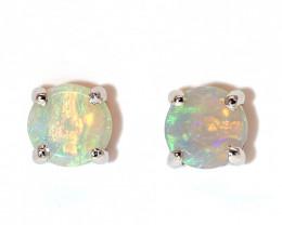 Coober Pedy Opal 925 SILVER Rhodium Plated PIERCE EARRINGS [CE04]