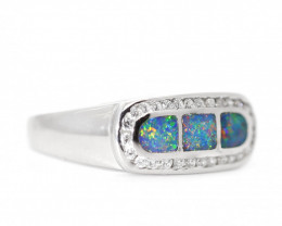 925 ST/ SILVER RHODIUM PLATED INLAY OPAL RING[CR45]