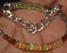 16 Crts Natural Welo Opal Garnet Amethyst & Peridot Beads Bracelet 697