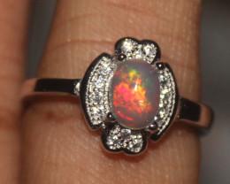 Ethiopian Welo Fire Opal Silver Ring Size US (6) 0107